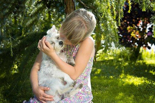 愛犬を抱きしめる少女